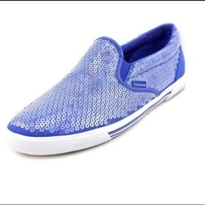 COACH blue sequin slip-on sneakers